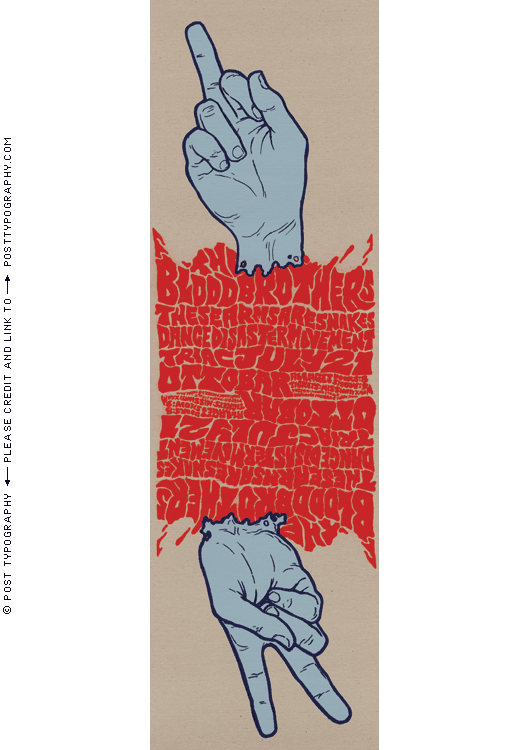 Blood Brothers, Dance Disaster Movement poster. Ottobar Baltimore. Severed hands, blood, peace, middle finger, Iraq War, flipping the bird
