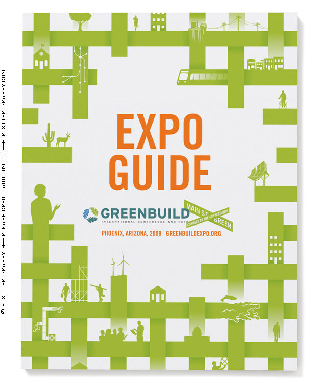 Greenbuild Expo guide cover design art. 2009. Phoenix. Main Street Green. USGBC conference, sustainability, fabric of society