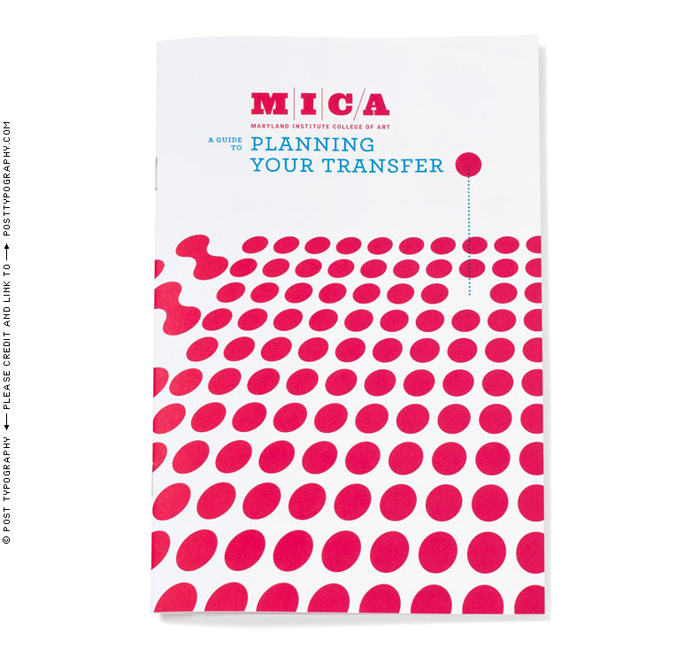 MICA Student Transfer Guide cover design. Maryland Institute College of Art. art college transfer. colorful dot pattern, abstract illustration, college publication design