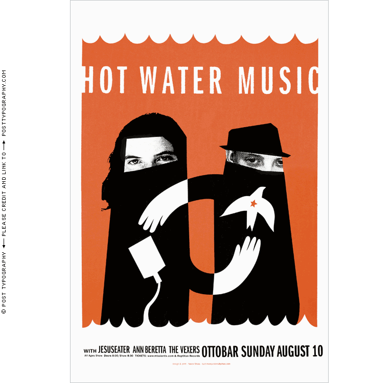 Hot Water Music; Ottobar concert poster Baltimore, Maryland, MD. Hand silkscreened screenprinted limited edition gigposter rock show. Post Typography, Nolen Strals, Bruce Willen (12)