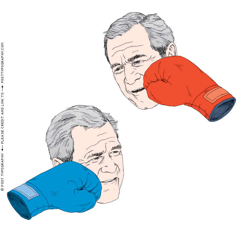George W. Bush getting punched, critiquing the Bush Administration, New York Times illustration