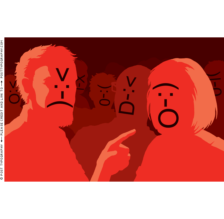 TIME magazine website commentors illustration, angry emoticons, internet anonymity