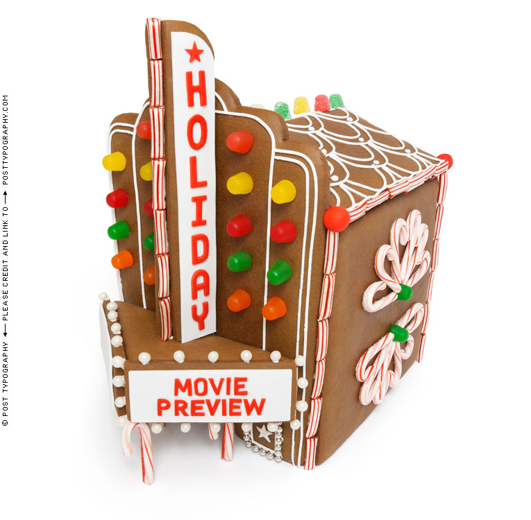 Holiday Movie Preview. Gingerbread movie theater cinema house. Time Magazine.