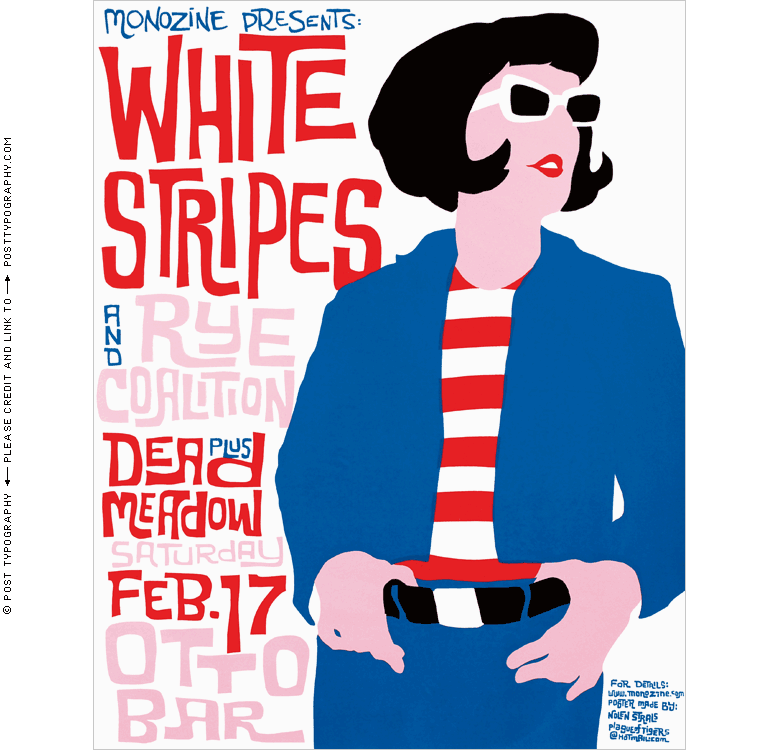 White Stripes classic 1950s style mod Ottobar concert poster Baltimore, Maryland, MD. Hand silkscreened screenprinted limited edition gigposter rock show. Post Typography, Nolen Strals, Bruce Willen (7)