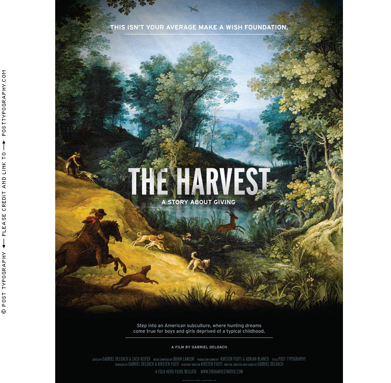 The Harvest: A Story About Giving documentary film titles, graphic design, title design, packaging, website, film festival. Classical paintings. Old master hunting scenes. Paul Bril. Gabriel Deloach. (2)